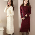 Women's Knitting Sweater Long Dress Warm Thick Casual Slim Comfy Crew Neck New