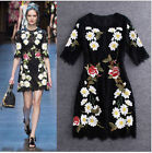 ITALY Womens New High-end Fashion Floral Lace Embroidered Black Party Dress Hot