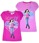 Girls New ICarly T-shirt Cap Sleeve Top 100% Cotton Cerise Pink Age 6 - 11 Years