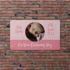 Personalised Name Christening Day Baptism Pink Flag Banner Party Decoration