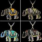 Retro Crystal Elephant Sweater Chain Pendant Necklace Jewelry Mom Grandma Gift