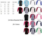 3/4 Sleeve Raglan Baseball Mens Plain Tee Jersey Team Sports T-Shirt 20+ Colors image