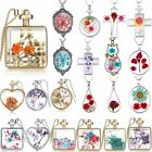 Natural Dried Flower Real Rose Round Heart Glass Locket Chain Pendant Necklace