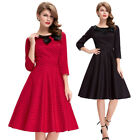 50s 60s Retro Vintage Style Swing Cotton Costume Housewife Pinup Dress Polka Dot