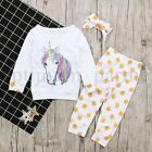 US New Unicorn Newborn Baby Girl Outfit Clothes Tops Leggings Pants Headband Set