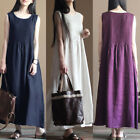 ZANZEA Women Round Neck Vintage Ethnic Party Long Maxi Dress Sleeveless Sundress