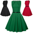 Women Vintage 50s Cocktail Party Dress Pinup Flared Swing A-line Midi Belt Dress
