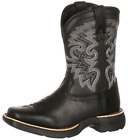 Lil Durango Kid's Square Toe Stockman Cowboy Boot - Black