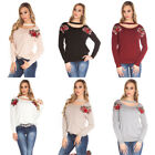 Maglione Donna Over Size Con Toppe In Pizzo Flowers Trendy Chocker