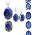 Natural Stone Lapis Lazuli Set Necklace Earrings Ring Bracelet Fashion Jewelry