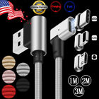 US 1/2/3M 90° L-Angle Magnetic LED USB-C Type-C/IOS/Micro USB Charger Data Cable