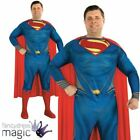 *Official Adult Mens Superman Man Steel Plus Size Fancy Dress Superhero Costume*