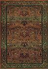 Green Traditional - Persian/Oriental Vines Leaves Border Area Rug Floral 465J4