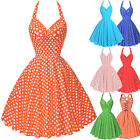 Vintage Style Polka Dot Retro Swing 1950s Housewife Halter Pinup A-Line Dresses
