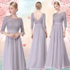 Ever Pretty Lace Long Chiffon Wedding Formal Party Ball Grey Prom Evening 08412