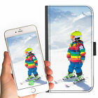 SKIING PERSONALISED CUSTOM DELUXE LEATHER PU MOBILE PHONE CASE ANY IMAGE