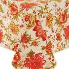 Sydney Fabric Tablecloth Floral Fall Colors Of Ivory Red Gold & Green