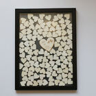 120 Hearts-Personalized Engraved Drop Top Wooden Wedding Guest Book Black Frame