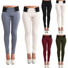 Women Buttons High Waist Patchwork Long Pants Skinny Casual Leggings Trousers