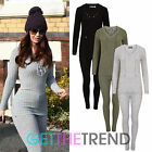 Womens Celeb Style Ribbed Lace Up Top and Leggings Set Ladies Knitted Tracksuit