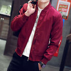 Stylish Mens Padded Bomber Jacket Bike Motorcycle Coat Zip Outwear Streetwear US