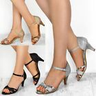Womens Ladies Low Heel Wedding Bridal Silver Sandals Party Strappy Shoes Open