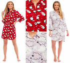 Ladies Womens Nightie Nightshirt Brushed Flannel Cotton Red Penguin Pink Cloud