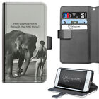 HAIRYWORM FUNNY ELEPHANT BREATHE DELUXE LEATHER WALLET PHONE CASE, FLIP CASE
