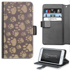 HAIRYWORM BROWN DOG PAW PRINTS DELUXE LEATHER WALLET PHONE CASE, FLIP CASE