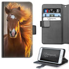 HAIRYWORM RED CHESTNUT HORSE DELUXE LEATHER WALLET PHONE CASE, FLIP CASE, COVER