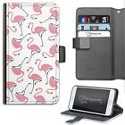 HAIRYWORM PINK FLAMINGO PATTERN DELUXE LEATHER WALLET PHONE CASE, FLIP CASE
