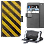 HAIRYWORM GREY ANY YELLOW HAZARD STRIPES DELUXE LEATHER WALLET FLIP PHONE CASE