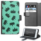 HAIRYWORM GREEN AND BLACK CROWNS DELUXE LEATHER WALLET PHONE CASE, FLIP CASE