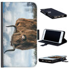 (BG0219) HIGHLAND COW WITH LARGE HORNS LUXURY LEATHER PHONE CASE PHONE COVER