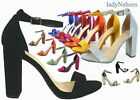 NEW Women's Color  Open Toe Ankle Strap Chunky Heel Dress Sandal Size 5.5 - 11