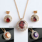 A1-S123 Fashion CZ Pave Setting Earrings Necklace Jewelry Set 18KGP Crystal
