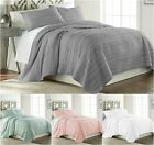 Chezmoi Collection Katy 3pc Solid Reversible 100% Cotton Frayed Edge Quilt Set
