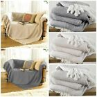 2 x Cotton Woven Herringbone Sofa Chair Settee Bed Throws Spread Fringed Blanket