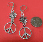 PEACE SIGN Daisy Flower Silver Plated LEVERBACK earrings Options Butterfly, Long