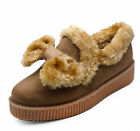 LADIES CAMEL FLAT SLIP-ON PLIMSOLL FUR PUMPS CASUAL COMFY LOAFERS SHOES UK 3-8