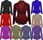 Womens New Peplum Frill Fitted Jackets Ladies Long Sleeve Flared Slim Fit Blazer