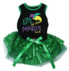 Life Of The Mardi Black Cotton Top Green Sequins Tutu Pet Dog Puppy Dress