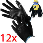 12 PAIRS NYLON BLACK WORK GLOVES PU COATED BUILDERS MECHANIC CONSTRUCTION GRIP