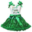 Happy St.Patrick's Day White Top Green Bling Sequins Girls Skirt Set 1-8Y