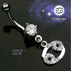 Body Piercing Jewelry - Zodiac Sign Paved CZ Gem Belly Ring Pierced Navel Astrology 14g Surgical Steel