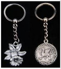 Pewter Keyring in Presentation Box - Welsh Dragon - Daffodil - Celtic Collection