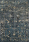 Black Transitional Synthetics Faded Distressed Diamonds Area Rug Bordered AQ1