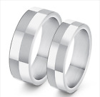 Hot Stainless Steel Promise Love Silver Classic lattice design Love Couple Rings