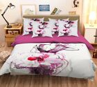 3D Beautys Hand Draw 42 Bed Pillowcases Quilt Duvet Cover Set Single Queen CA