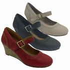 Ladies Shoes Step on Air Nikita Mary Jane Wedge Retro Black Red Beige Size 6-10